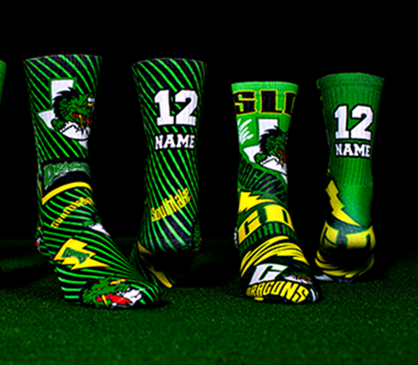 Any sport, all season long - our custom logo and team socks are design and printed to last!